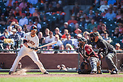 San Francisco Giants left fielder Angel Pagan (16) takes a pitch in the dirt against the Arizona Diamondbacks at AT&T Park in San Francisco, Calif., on August 31, 2016. (Stan Olszewski/Special to S.F. Examiner)