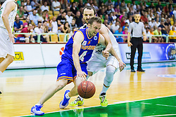 Jure Mocnik of KK Helios Suns and Daniel Vujasinovic of KK Zlatorog during basketball match between KK Zlatorog and KK Helios Suns in 1st match of Nova KBM Slovenian Champions League Final 2015/16 on May 29, 2016  in Dvorana Zlatorog, Lasko, Slovenia.  Photo by Ziga Zupan / Sportida