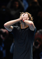 Tennis - 2018 Nitto ATP Finals at The O2 - Day Eight<br /> <br /> Final Singles: Novak Djokovic (SRB) vs. Alexander Zverev (GER)<br /> <br /> Zverev celebrates after he claims the title 6-4, 6-3.<br /> <br /> COLORSPORT/ASHLEY WESTERN