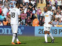 Football - 2017 / 2018 Premier League - Swansea City vs. Stoke City<br /> <br /> André Ayew of Swansea City  looks sad as Swansea lose & are relegated, at The Liberty Stadium.<br /> <br /> COLORSPORT/WINSTON BYNORTH