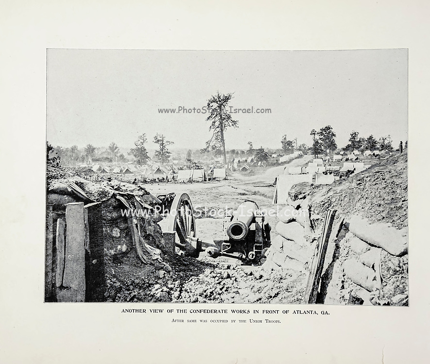 """VIEW OF THE CONFEDERATE WORKS IN FRONT OF ATLANTA GA occupation by the Union Troops. from The American Civil War book and Grant album : """"art immortelles"""" : a portfolio of half-tone reproductions from rare and costly photographs designed to perpetuate the memory of General Ulysses S. Grant, depicting scenes and incidents in connection with the Civil War Published  in Boston and New York by W. H. Allen in 1894"""
