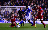 Isaac Cassell of Birmingham city © is tackled by Sean Morrison of Cardiff City and joe Ralls of Cardiff City (l)   .EFL Skybet championship match, Birmingham city v Cardiff city at St.Andrew's stadium in Birmingham, the Midlands on Friday 13th October 2017.<br /> pic by Bradley Collyer, Andrew Orchard sports photography.