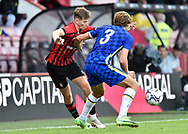 David Brooks (7) of AFC Bournemouth battles for possession with Marcos Alonso (3) of Chelsea during the Pre-Season Friendly match between Bournemouth and Chelsea at the Vitality Stadium, Bournemouth, England on 27 July 2021.