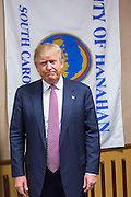 Republican presidential candidate billionaire Donald Trump arrives for a press conference February 15, 2016 in Hanahan, South Carolina.