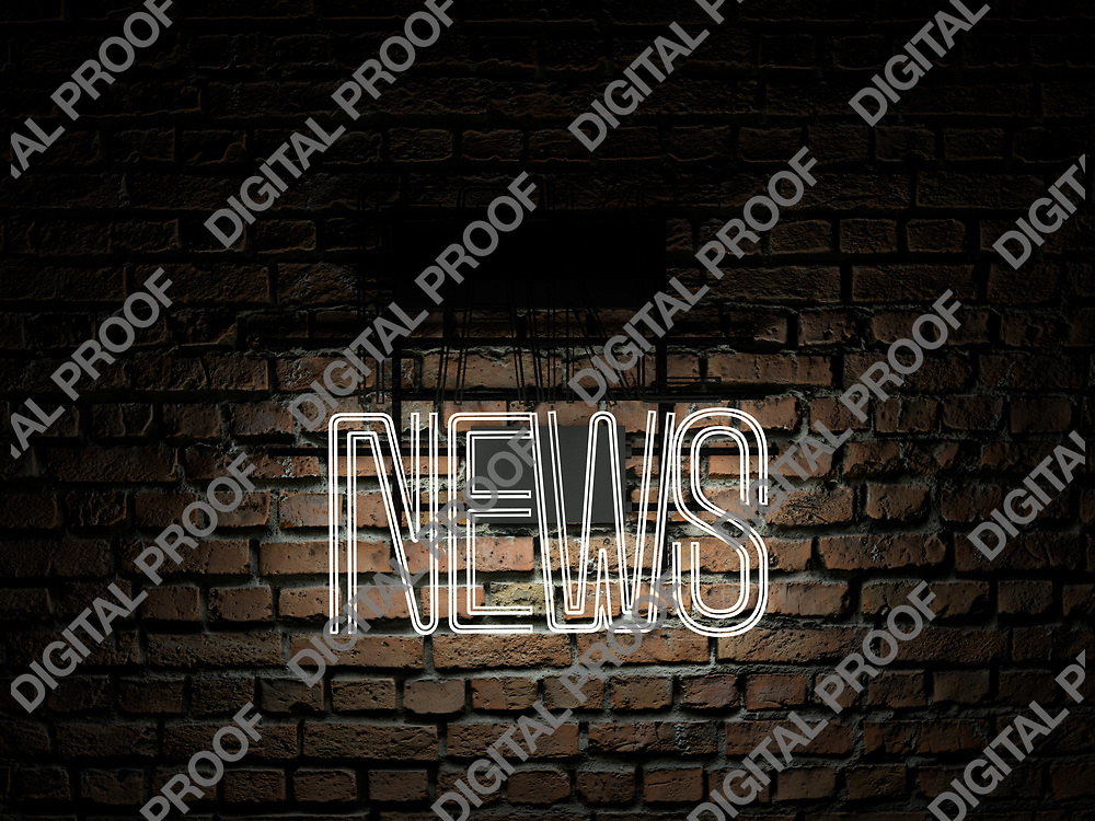 Fake News Neon Sign white color news on fake off over a red brick wall at dark - Illustration Computer Rendered - Illustration