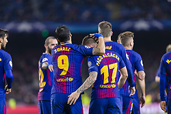 December 5, 2017 - Barcelona, Catalonia, Spain - FC Barcelona forward Paco Alcacer (17) celebrates scoring the goal with FC Barcelona forward Luis Suarez (9) during the match between FC Barcelona - Sporting CP, for the group stage, round 6 of the Champions League, held at Camp Nou Stadium on 5th December 2017 in Barcelona, Spain. (Credit Image: © NurPhoto via ZUMA Press)