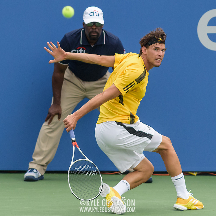 DOMINIC THIEM hits a slice backhand during his match on day four at the Citi Open at the Rock Creek Park Tennis Center in Washington, D.C.