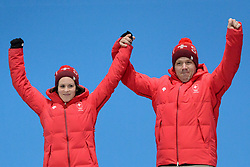 February 14, 2018 - Pyeongchang, South Korea - JENNY PERRET AND MARTIN RIOS of Sweden celebrate getting the silver medal in the Mixed Doubles curling event in the PyeongChang Olympic games. (Credit Image: © Christopher Levy via ZUMA Wire)