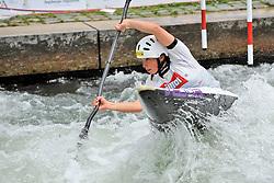 30.06.2013, Eiskanal, Augsburg, GER, ICF Kanuslalom Weltcup, Finale Kajak Teams, Frauen, im Bild Viktoria WOLFFHARDT (Oesterreich/ Austria), Finale, Team, Kajak, K1, Teams, Frauen, Oesterreich // during final of the women's kayak team of ICF Canoe Slalom World Cup at the ice track, Augsburg, Germany on 2013/06/30. EXPA Pictures © 2013, PhotoCredit: EXPA/ Eibner/ Matthias Merz<br /> <br /> ***** ATTENTION - OUT OF GER *****