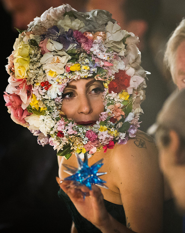 Day3 London Fashion Week 16th September 2012..Lady Gaga during a rehearsal at the Philip Treacy  Catwalk..