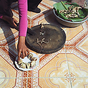 A woman prepares a cooked rat caught in the rice fields around Vinh An, a village specialising in catching rats, Hung Yen province, Vietnam. With Vietnam's growing population making less land available for farmers to work, families unable to sustain themselves are turning to the creation of various products in rural areas.  These 'craft' villages specialise in a single product or activity, anything from palm leaf hats to incense sticks, or from noodle making to snake-catching. Some of these 'craft' villages date back hundreds of years, whilst others are a more recent response to enable rural farmers to earn much needed extra income.