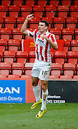 Terry Gornell upset at disallowed goal during the The FA Cup match between Cheltenham Town and Dover Athletic at Whaddon Road, Cheltenham, England on 7 December 2014.