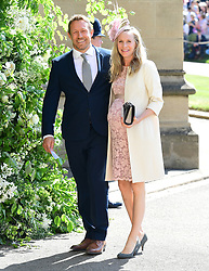Jonny Wilkinson and Shelley Jenkins arrive at St George's Chapel at Windsor Castle for the wedding of Meghan Markle and Prince Harry.