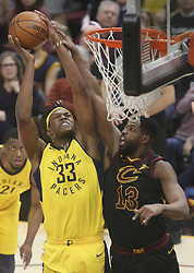 April 29, 2018 - Cleveland, OH, USA - Cleveland Cavaliers' Tristan Thompson defends a shot inside by Indiana Pacers' Myles Turner in Game 7 of the Eastern Conference First Round series on Sunday, April 29, 2018 at Quicken Loans Arena in Cleveland, Ohio. The Cavs won the game, 105-101. (Credit Image: © Phil Masturzo/TNS via ZUMA Wire)