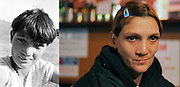 Mihaela Capra in 1995 when she was 10 in the valley near the orphanage in Popricani and in a café in Iasi in 2011. She works for the charity Emaüs in Iasi.