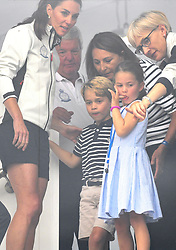 The Duchess of Cambridge, Prince George and Princess Charlotte at The King's Cup Regatta, Cowes, Isle of Wight. Photo credit should read: Doug Peters/EMPICS