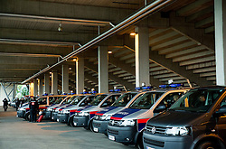 Police vans prior to the football match between WAC Wolfsberg (AUT) and  Borussia Dortmund (GER) in First leg of Third qualifying round of UEFA Europa League 2015/16, on July 30, 2015 in Wörthersee Stadion, Klagenfurt, Austria. Photo by Vid Ponikvar / Sportida