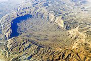 Aerial view HaMakhtesh HaKatan (The Small Crater) Negev Desert, Israel