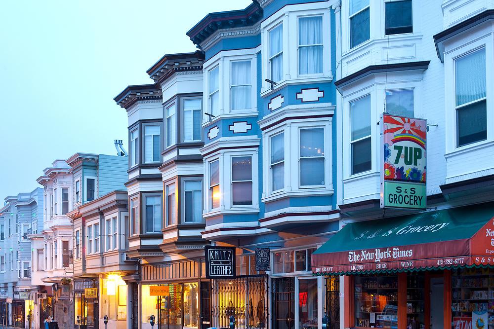 San Francisco, California, United States - Store and houses at North Beach neighborhood at dawn.