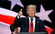 Republican presidential nominee Donald Trump gives a thumbs up during his walk through at the Republican National Convention in Cleveland July 21, 2016.  REUTERS/Rick Wilking