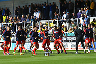 Scunthorpe players warm up during the EFL Sky Bet League 1 match between Burton Albion and Scunthorpe United at the Pirelli Stadium, Burton upon Trent, England on 29 September 2018.