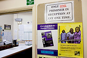 """The door to the reception at HMP Kingston. The sign to the right of the door reads """"Only one prisoner in reception at any one time"""". Portsmouth, United Kingdom. Kingston prison is a category C prison holding indeterminate sentenced prisoners."""