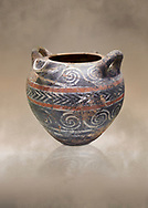 Minoan Kamares Ware spouted jar with 2 handles with  polychrome decorations, Phaistos Palace 1800-1600 BC; Heraklion Archaeological  Museum.<br /> <br /> This style of pottery is named afetr Kamares cave where this style of pottery was first found .<br /> <br /> If you prefer to buy from our ALAMY PHOTO LIBRARY  Collection visit : https://www.alamy.com/portfolio/paul-williams-funkystock/minoan-art-artefacts.html . Type -   Heraklion   - into the LOWER SEARCH WITHIN GALLERY box. Refine search by adding background colour, place, museum etc<br /> <br /> Visit our MINOAN ART PHOTO COLLECTIONS for more photos to download  as wall art prints https://funkystock.photoshelter.com/gallery-collection/Ancient-Minoans-Art-Artefacts-Antiquities-Historic-Places-Pictures-Images-of/C0000ricT2SU_M9w