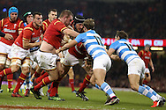 Gethin Jenkins of Wales © sees his path to the try line blocked by solid defence from Ramiro Moyano (11) and Nicolas Sanchez of Argentina. Under Armour 2016 series international rugby, Wales v Argentina at the Principality Stadium in Cardiff , South Wales on Saturday 12th November 2016. pic by Andrew Orchard, Andrew Orchard sports photography