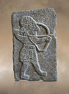 Hittite relief sculpted orthostat panel of an archer from the Palace of King Kapara, from Tell Halaf, ancient Guzana, Syria, iX cent BC, Louvre Museum. Cat No 11072