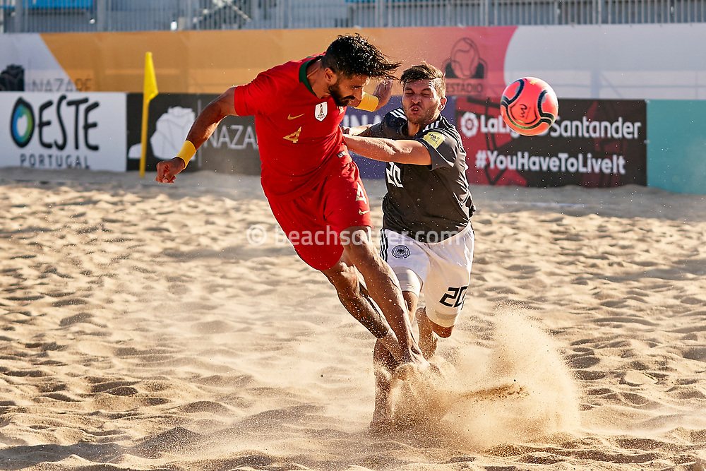 NAZARE, PORTUGAL - SEPTEMBER 3: Bruno Torres of Portugal and Julin Mutulingam of Germany during day 2 of the Euro Beach Soccer League Superfinal at Estadio do Viveiro on September 3, 2020 in Nazare, Portugal. (Photo by Jose Manuel Alvarez/BSWW)