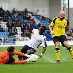 TELFORD COPYRIGHT MIKE SHERIDAN 13/10/2018 - Daniel Udoh of AFC Telford is denied by Matt Urwin on a wet surface during the Vanarama National League North fixture between AFC Telford United and Chorley