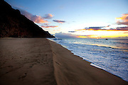 Sunset, Kalalau Beach,Napali Coast, Kauai, Hawaii