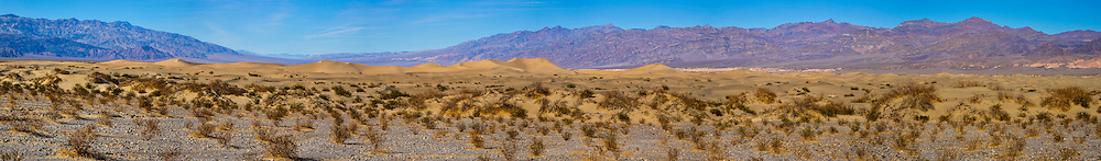 United States, California, Death Valley. Panorama of the Mesquite Flat Sand Dunes are at the northern end of the valley floor.