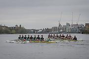London. UNITED KINGDOM.  160th BNY Mellon Boat Race on the Championship Course, River Thames, Putney/Mortlake.  Saturday  05/04/2014    [Mandatory Credit. Intersport Images]<br /> <br /> The 19th Oxford & Cambridge Veterans' Race<br /> From Putney Stone to Furnivall Steps.<br /> <br /> Oxford University<br /> <br /> Bow, G. R. Nicholas Holland, 2, Donald McDonald, 3, Kingsley Poole, 4, Andrew Landon-Green, 5, Roberto Blanda, 6, Toby Ayer, 7, Gerritjan Eggenkamp, Stroke, Barney Williams, Cox, Katie Apfelbaum<br /> <br /> Cambridge University<br /> <br /> Bow, Tom Middleton, 2, Lukas Hirst, 3, Paul Wright, 4, Kieran West, 5, Guy Pooley, 6, David Gillard, 7, Sebastian Schulte, Stroke, Marc Weber, Cox, Sarah Smart