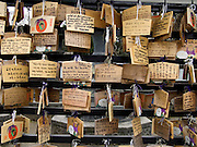 prayer good luck tablets outside an Asian temple Tokyo Japan