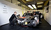 In the Garage with the Bykolles Yeam who are working on the car in preparation for tonight qualification 24hr Le Mans 16th June 2016