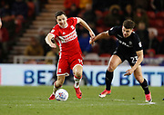 Stewart Downing of Middlesbrough and Leeds United midfielder Kalvin Phillips during the EFL Sky Bet Championship match between Middlesbrough and Leeds United at the Riverside Stadium, Middlesbrough, England on 2 March 2018. Picture by Paul Thompson.