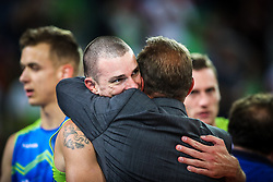 Metod Ropret, president of OZS and Alen Pajenk #2 (SLO) at celebration of victory after volleyball match between National teams of Slovenia and Poland in semifinal of 2019 CEV Volleyball Men's European Championship in Ljubljana, on September 26, 2019 in Arena Stozice. Ljubljana, Slovenia. Photo by Matic Klansek Velej / Sportida