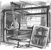 A Spitalfields silk weaver: This man could earn 70p in a good week, but by this date the industry had declined and work was hard to come by. The Spitalfields silk industry begun by Huguenot refugees who left France after Revocation of Edict of Nantes (1685) by Louis XIV. From 'Cassell's Family Magazine', London 1884. Engraving.