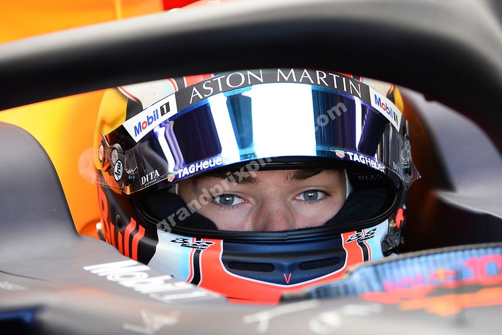 Pierre Gasly (Red Bull-Hpnda) in the pits with his helmet on during practice for the 2019 Canadian Grand Prix in Montreal. Photo: Grand Prix Photo