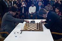 Zuerich, 01.02.2014, Zurich Chess Challenge 2014, Hikaru Nakamura (Grand Master USA) vs Magnus Carlsen (Worldchampion and Grand Master Norway). (Gonzalo Garcia/EQ Images)