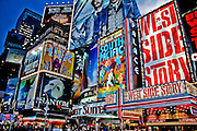 Bright and colorful lights of the Palace Theater, the mythical theater of Broadway, Times Square. Manhattan, New York, 2009.