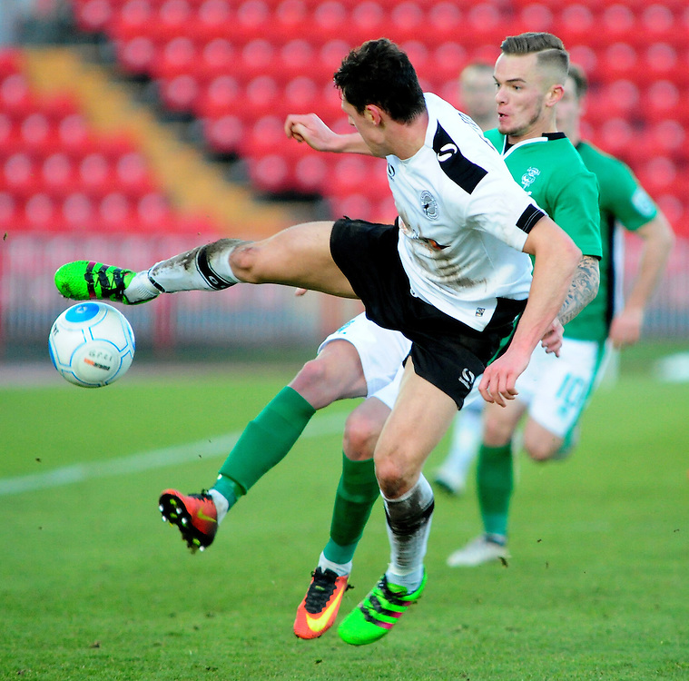 Lincoln City's Joe Ward vies for possession with Gateshead's James Bolton<br /> <br /> Photographer Andrew Vaughan/CameraSport<br /> <br /> The Buildbase FA Trophy - The Buildbase FA Trophy Second Round - Gateshead v Lincoln City - Saturday 14th January 2017 - Gateshead International Stadium - Gateshead<br />  <br /> World Copyright © 2017 CameraSport. All rights reserved. 43 Linden Ave. Countesthorpe. Leicester. England. LE8 5PG - Tel: +44 (0) 116 277 4147 - admin@camerasport.com - www.camerasport.com
