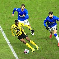 21.11.2020, OLympiastadion, Berlin, GER, DFL, 1.FBL, Hertha BSC VS. Borussia Dortmund, <br /> DFL  regulations prohibit any use of photographs as image sequences and/or quasi-video<br /> im Bild Niklas Stark (Hertha BSC Berlin #5), Mathew Lecki (Hertha BSC Berlin #7),<br /> Youssoufs Moukoko (Borussia Dortmund #18)<br /> <br />       <br /> Foto © nordphoto / Engler