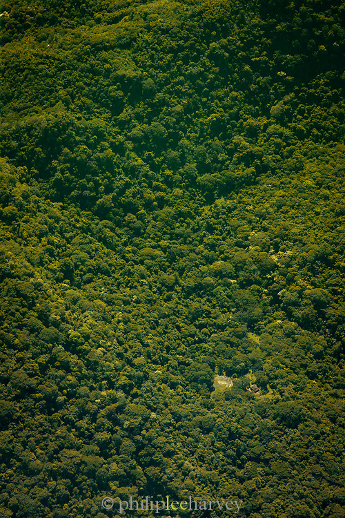 Landscape with an aerial view of a lush green rainforest, Pacific lowlands, Nicaragua