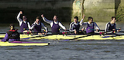 Chiswick, London. <br /> University of London Trail Eights<br /> 14/02/2002<br /> Putney to Mortlake<br /> Jubilation as UL crew Strenght over honour to  win the final race over Honour.        [Mandatory Credit:Peter SPURRIER/Intersport Images]
