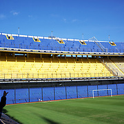 A tour group surveys the famous Boca Juniors football stadium, La Bombonera, in La Boca region of Buenos Aires, Argentina, 25th June 2010. Photo Tim Clayton..