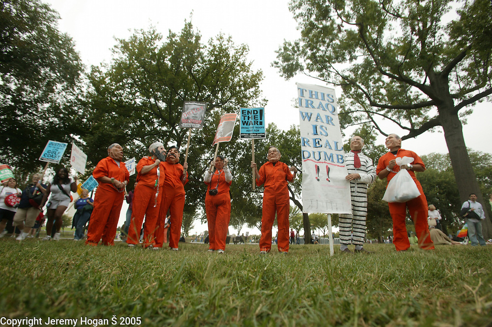 Protesters impersonate the key players in Operation Iraqi Freedom during the anti-war march on Washington.