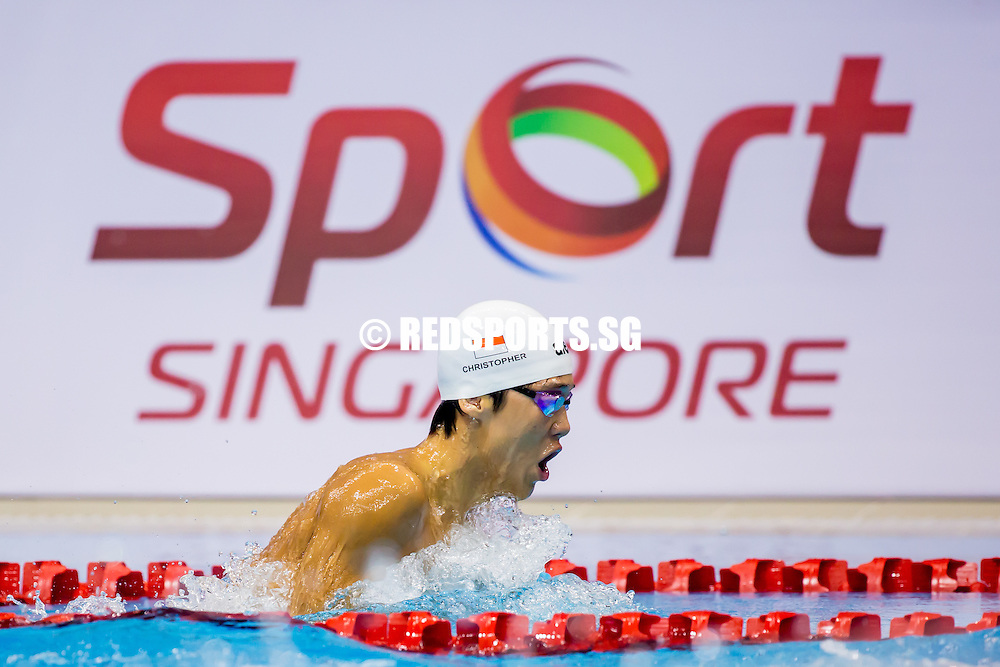 Christopher Cheong of Singapore in action on day 2 of the FINA/MASTBANK Swimming World Cup at the OCBC Aquatic Centre at the Singapore Sports Hub on November 2, 2014 in Singapore.
