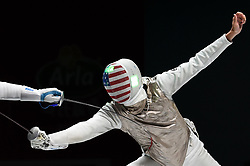 WUXI, July 27, 2018  Alexander Massialas of the US competes during the men's foil team final between Italy and the United States at the Fencing World Championships in Wuxi, east China's Jiangsu Province, July 27, 2018. Italy beat US 45-34 and claimed the title of the event. (Credit Image: © Li Bo/Xinhua via ZUMA Wire)